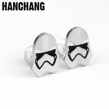 Fashion jewellery Star Wars Male White Warrior Cufflinks French Men's Shirt Cuff Button Cool Pin Decoration For Party Wedding(China)