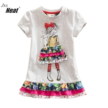 2017 Retail BABY Girl Clothes short Sleeve Girls Dress Kids Clothing Princess party dresses printing children clothing SH3660(China)