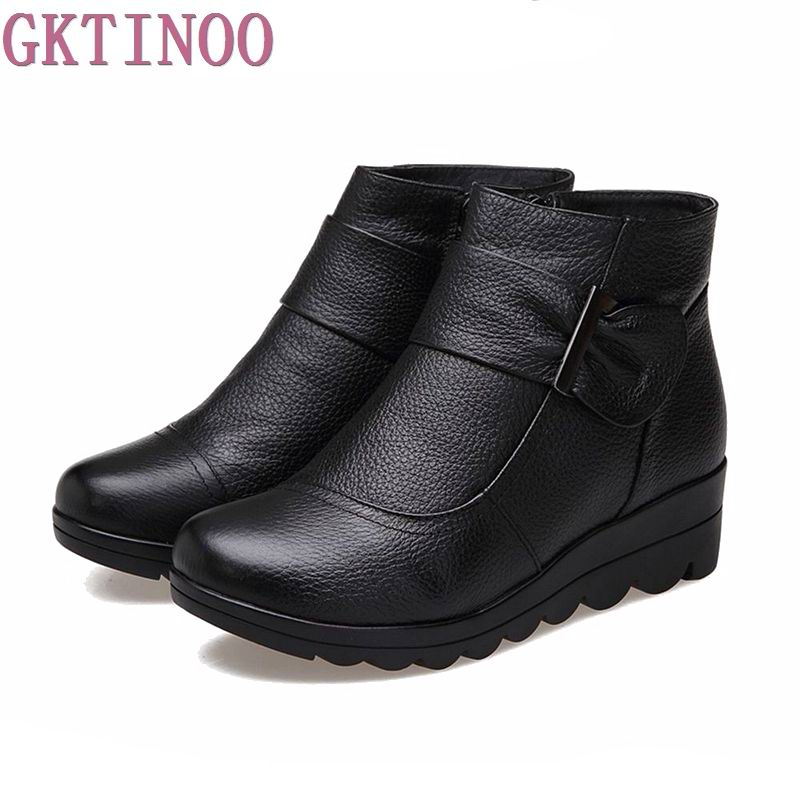 2017 Snow boots shoes women genuine leather large yard winter boots women boots warm plush winter shoes Big Size 35-41<br>
