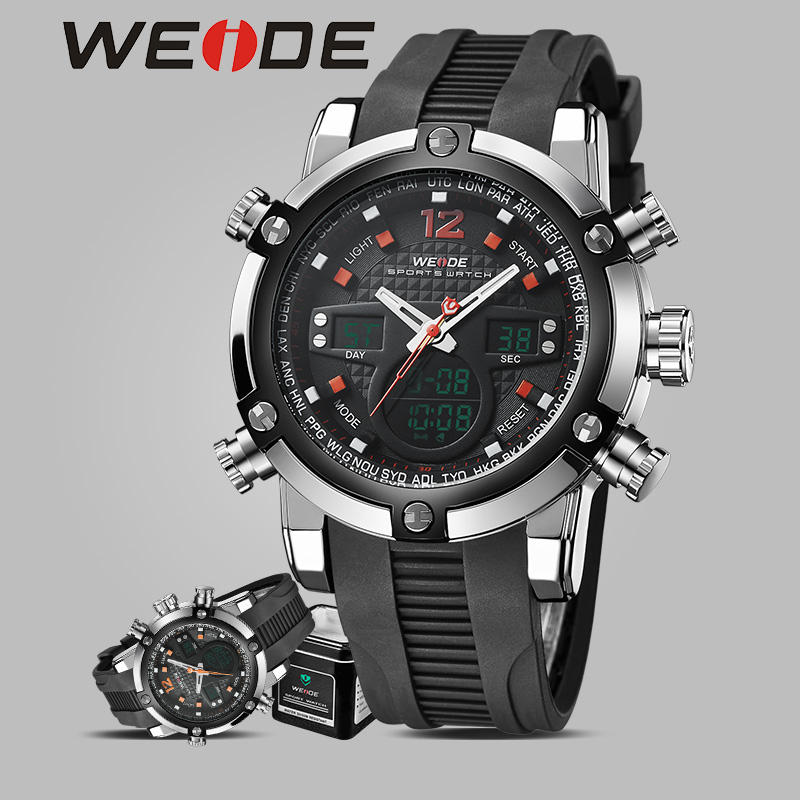 WEIDE brand quartz sports wrist watch casual genuine waterproof watch chronograph fashion masculinos cheap electronic watches(China)