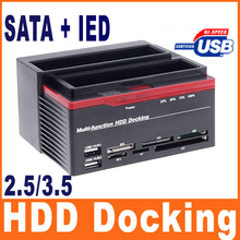 "All In 1 HDD Docking Station External HDD Box 2.5"" 3.5"" IDE Two SATA USB2.0 Card Reader External Storage Enclosure for Computer"