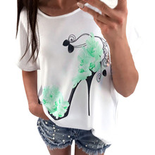 Buy 2017 fashion summer short sleeve female t-shirts women brand long sleeve print High heels Casual loose summer tshirts flowers for $4.03 in AliExpress store