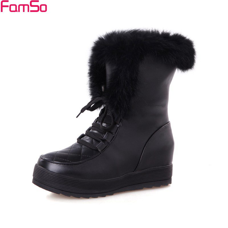 FAMSO 2017 Shoes Women Boots Autumn Black red White Lace-up Riding Boots Russia Winter Waterproof  Fur Snow Boots Shoes<br>