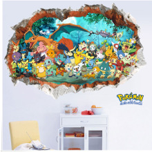 Creative removable 3d pokemon wall stickers for kids rooms adhesive nursery wall decals for children living room wall pictures