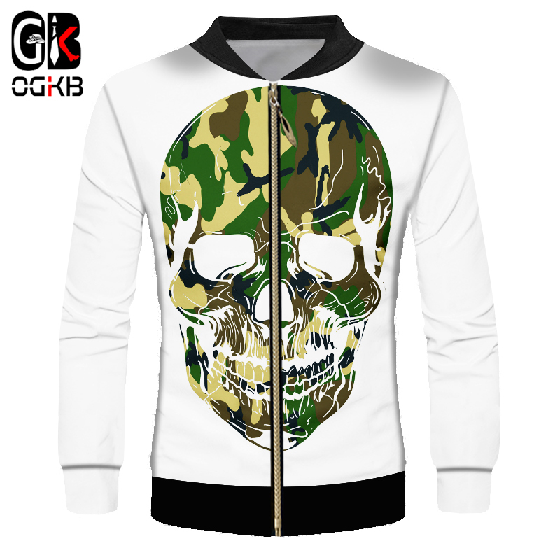 OGKB Camouflag Classic Jackets Men's Cool Print Skull 3D Jacket Coats With Zip Man Hiphop Streetwear Punk Long Sleeve Cardigan