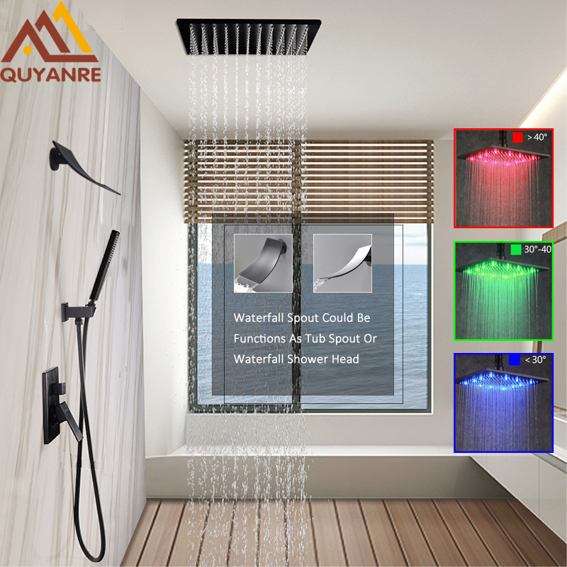 quyanre wanfan frap black led rainfall shower faucet set rainfall led shower head waterfall spout with 3-way mixer tap bathroom shower5