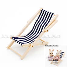 Odoria 1:12 Miniature Foldable Beach Chair Stripe Blue & White Outdoor Furniture Dollhouse Accessories(China)