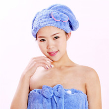 New Arrival China Manufacturer Home Textile Microfiber Womens Girls Lady's Magic Quick Dry Bath Hair Hat Drying Towel(China)