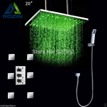 "Wholesale And Retail Luxury Bathroom Shower Set LED 20"" Rain Shower Head Set Body Massage Spray Jets"