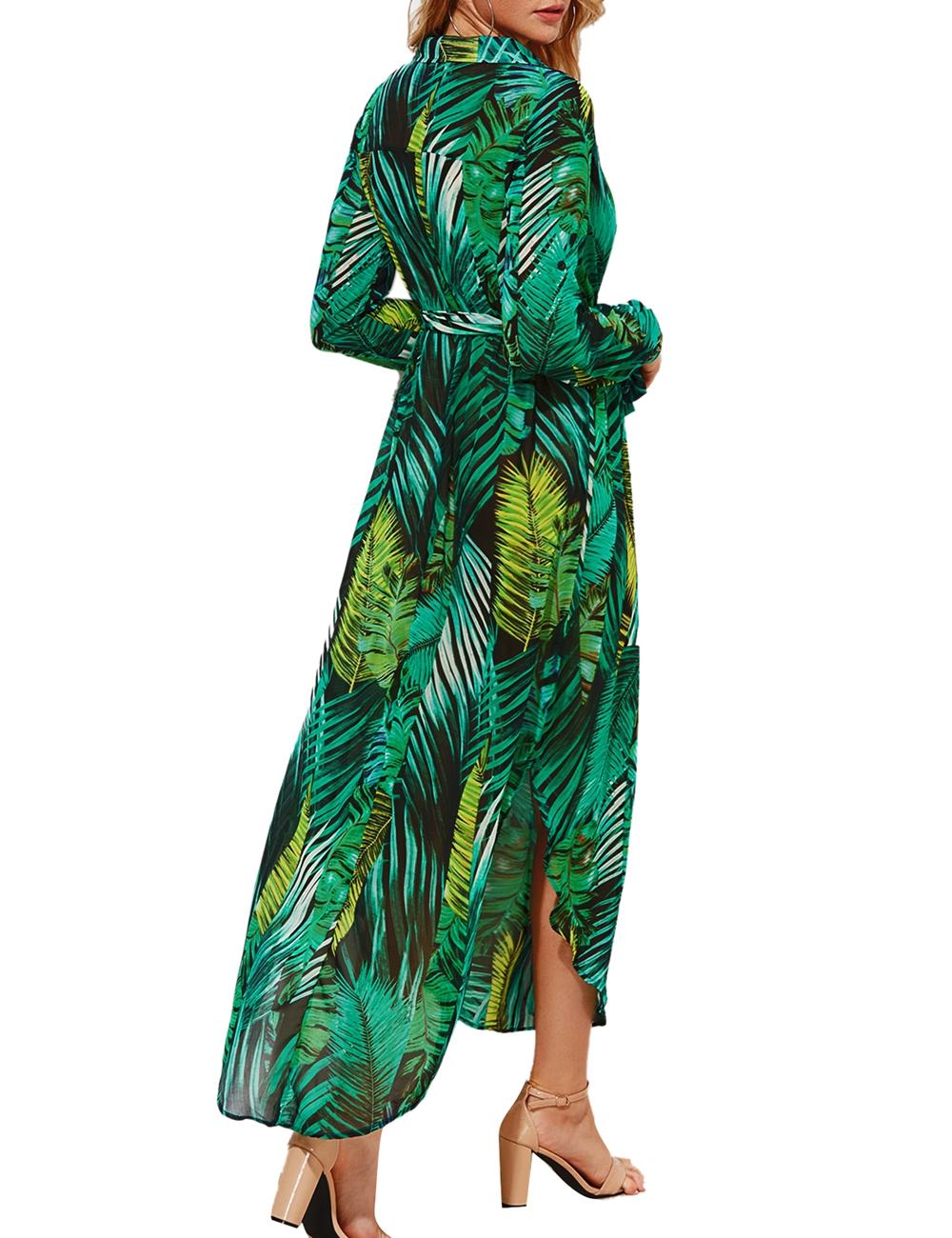 iShine autumn palm leaf printed long sleeve v neck beach maxi chiffon long dress casual split elegant women boho dress vestidos 5