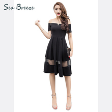 Sea Breeze Summer New Fashion women Slash neck Off the Shoulder Solid short sleeve Mesh perspective Sexy Slim Party dress black(China)