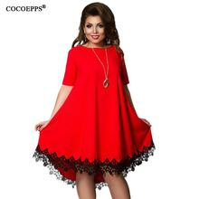 COCOEPPS Women Large Size Patchwork Tassel Dress 2017 Casual Loose Plus Size Female Clothing L-6XL Blue Red Chiffon vestidos 6XL