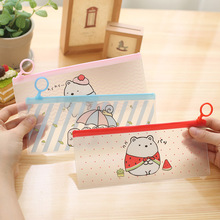 Cute Kawaii Cartoon PVC Pencil Case Lovely Bear Pencil Bag For Kids Stationery Gift School Supplies Free Shipping 1186(China)