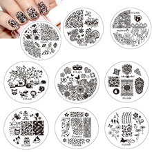 1pcs Stainless Steel Round Nail Art Image Stamp Stamping Plates Manicure Template Stencils Hot Selling Nail Tools BESTZA01-30