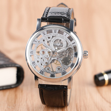 WINNER Hot Brand Hollow Dial Mechanical Wristwatch Black Leather Band Strap Hand Wind Fashion Casual Men Watch