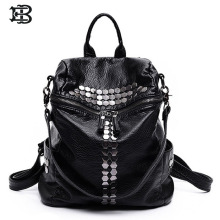 EB brand New fashion Women backpacks rivet black soft washed leather bag schoolbags for girls female leisure bags mochilas
