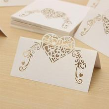 50pcs Laser Cut Heart Shape Table Name Card Place Card Wedding Party Decoration Favor (White)