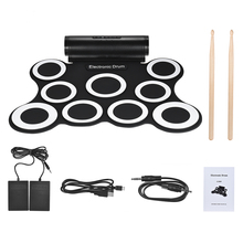 Electronic Roll Up Drum Kit Portable Stereo Digital 9 Silicon Drum Pads Built-in Double 3W Speakers USB Powered Convenient(China)