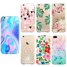 Unique Flower Colors TPU Soft Transparent Phone Cases For iPhone 5 5s SE 6 6s Plus 7 7Plus Silica gel Phone Back Cover Cell Case