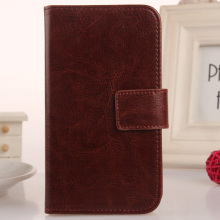 LINGWUZHE Solid Color PU Leather Mobile Phone Case Wallet Cover For Alcatel Ideal 4060A Dawn 5027B 4.5''
