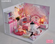 Love You Forever Assemble Simulation Model Wooden Dollhouse With LED Miniature Furniture Doll House