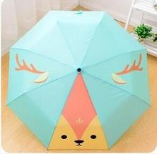 Cartoon Cute Fox Animation Women Cartoon Cat Child Creative Umbrella Ultralight Sunscreen Adorable Sunny Umbrellas Three Folding