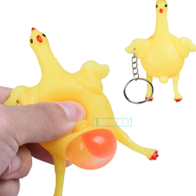 Funny Chicken Laying Egg Squeeze toys balle Anti Stress gadget novelty shocker gags practical jokes prank Decompressio Fun gift(China)