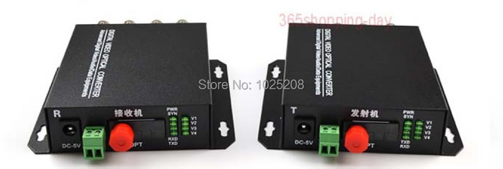 1pair 4 channel video data fiber optic media converter,4v1d,RS485, FC / Single mode