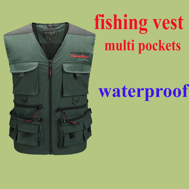 Waterproof Outdoor Fishing Vest Professional Multi-pocket Photography Journalist Reporter Mesh vest Rock Sea Ice Fishing Clothes<br><br>Aliexpress