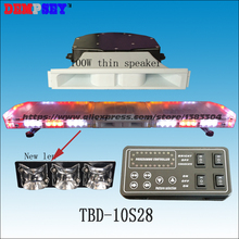 TBD-10S28 LED Emergency Warning Lightbar with 100W speaker,New Len,fire truck/police /car,Roof strobe Blue/Red warning lightbar(China)