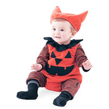 Halloween Clothing baby kleding Newborn Infant Baby Boy Striped Pumpkin Romper Halloween Outfits Costume Set roupa infantil(China)