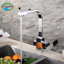 Two Spout Kitchen Faucet  Chrome Finished Cold Water Deck Mounted Drinking Water Kitchen Tap