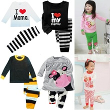 Hooyi Baby Girls Clothes Suits Cotton Children Sleepwear Sets Girl's T-Shirts Pants 2pcs Sets Pyjamas PJ'S I Love Mama Pink Tops