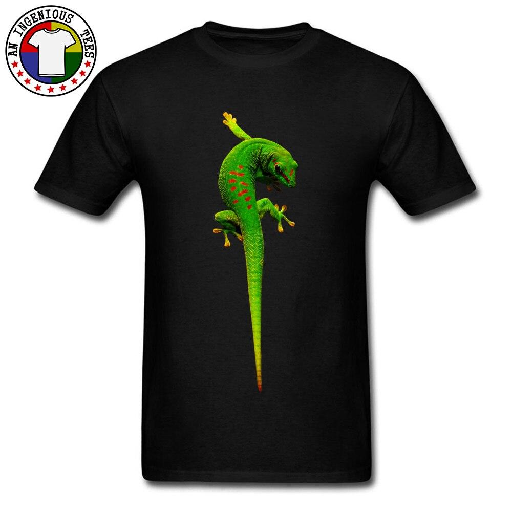 gecko O-Neck T-shirts Summer Fall T Shirt Short Sleeve 2018 Fashion Cotton Fabric Summer Tee Shirt 3D Printed Male gecko black