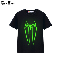 Sun Moon Kids T-shirt Boy New Cartoon Print Children's T-shirts For Girls  Cotton Short Sleeve Night Luminous Boys T Shirt