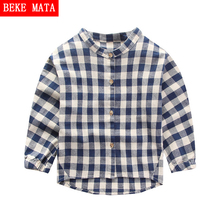 BEKE MATA Kids Boys Shirts Spring 2017 New Cotton Plaid Long Sleeve Toddler Shirts for Boys Casual Children's Blouses 2-6 Years