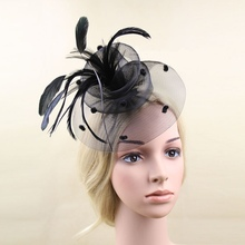 Elegant Wedding Ascot Races Party Fascinator Veil Net Hat and Feathers Hatinator(China)