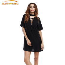 SZHANYIWL2017 Spring and summer Europe and the United States trend of solid color hollow V collar with five sleeves beauty dress