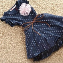 Princess Tutu Belt Lace Flower Dark Blue Short Sleeve Dots Stripe Kids Girl Dresses