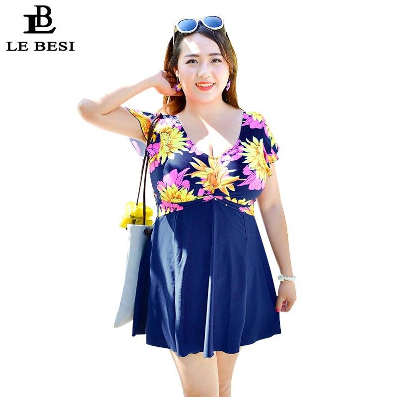 LEBESI 2017 New Mother Plus Size One Piece Swimsuit Women Sexy Skirt Pants Swimwear 3XL-7XL 110kg Bathing Suit High Cut Monokini<br>