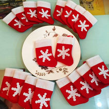 Hot 12 Pcs/Set Christma Toys Ornaments Santa Christmas Socks Shape Tableware Bags Dining Table Knife Forks Christmas Desk Decor