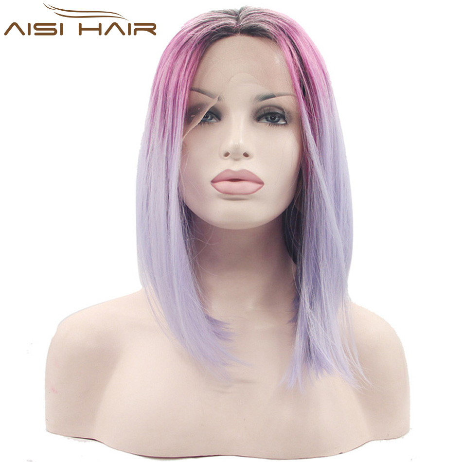 WISH18 Ombre Purple Pink Synthetic Lace Front Wigs Medium Long Straight Bob Wig Heat Resistant Fiber African American Wig Women<br><br>Aliexpress