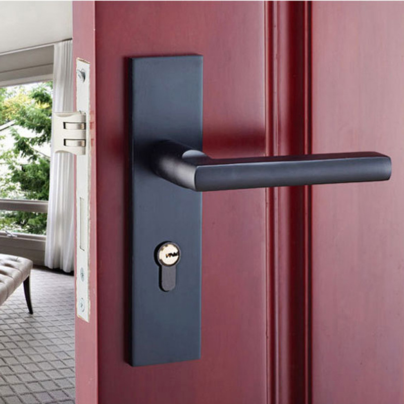 L&amp;S Black Space Aluminum Door Locks Toilet Inside the Bedroom Mechanical Hand Door Locks DL16004<br>