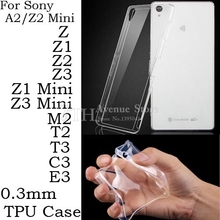 Ultra thin Clear Transparent Soft Silicone TPU Cover Case For Sony Xperia Z Z1 Z3 Z5 Compact Mini Z2 M2 T3 E3 E5 XA