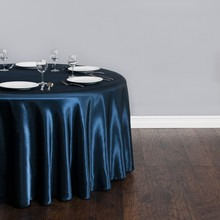 Free Shipping 10pcs Cheap Navy Blue 70''/90''/108''/120''/132'' Round Satin Table Cloth Banquet Table Cover Wedding Table Linens(China)