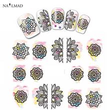 1 sheet NailMAD Mandala Nail Water Decals Dreamcatcher Transfer Stickers Nail Art Sticker Tattoo Decals(China)