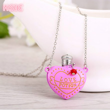 HSIC 12pcs/lot Movie LOVE POTION Jewelry Pink Heart Bottle Pendant Necklace Alloy Jewelry Christmas Gifts