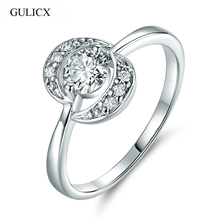 GULICX Double Moon Shape High Quality Finger Ring White Gold-color Crystal CZ Zircon Engagement Wedding Rings Women R055