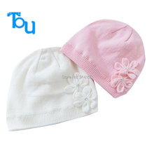 Tou-Baby girl's winter  hat  kids lovely Flowers  warm Knitted hat cloche hat Chidlren Outdoor hat 1pic  free shipping