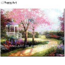 China Painter Handmade Thomas Landscape Oil Painting On Canvas Hand Painted Garden Scenery Wall Painting Pink Tree Picture Art